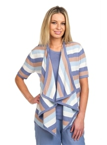 Linen Stripe Draped Cardigan