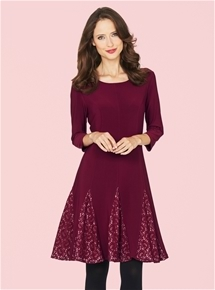 Monaco Bordeaux Lace Godet Dress