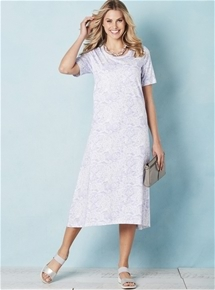 Short Sleeve Printed Maxi Dress