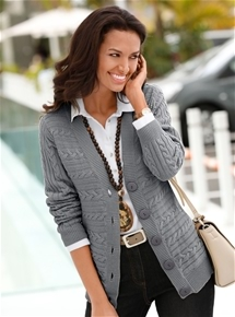 Button Cable Cardigan