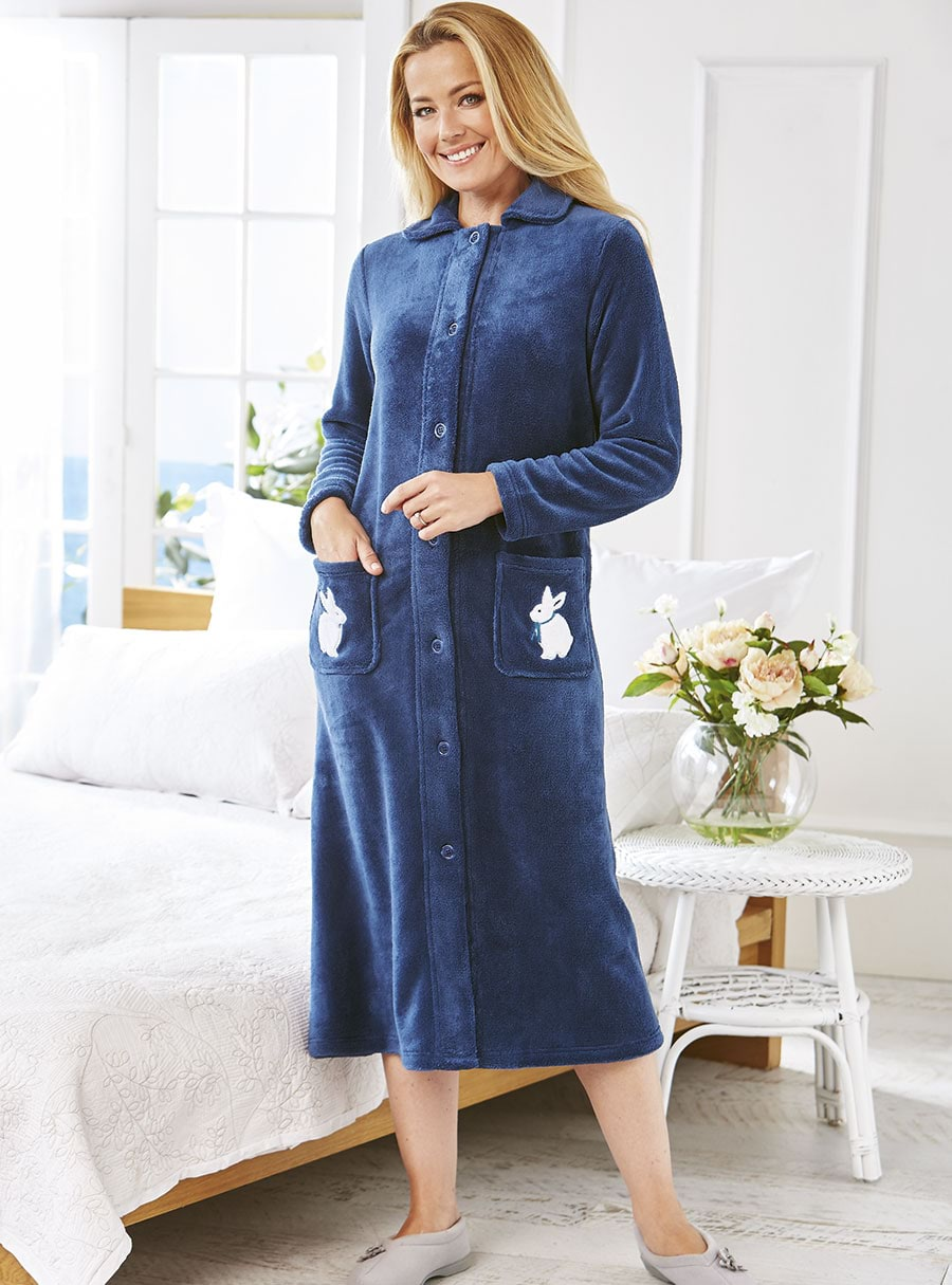 Bunny Fleece Gown Navy XS