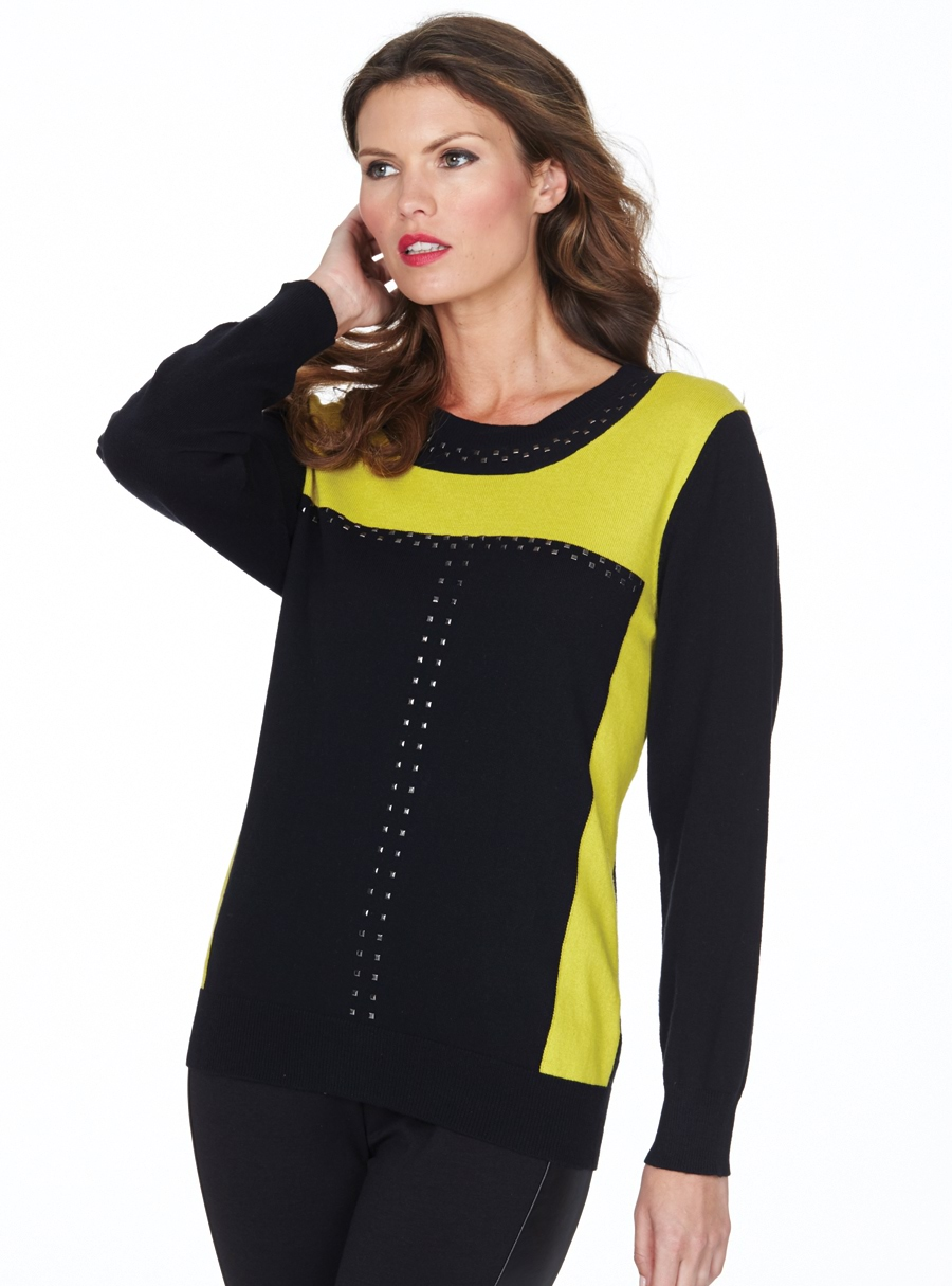 Orchis Stud Panel Sweater Black/Mustard 14