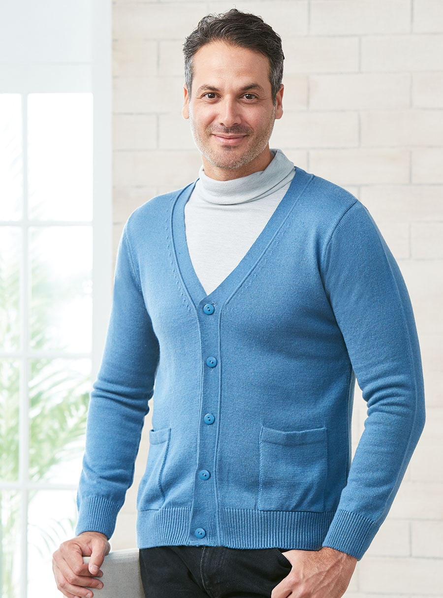 Mens Thermal Cardigan Denim S