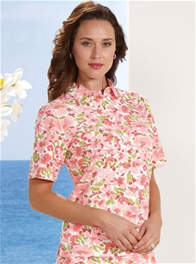 Pink Flowers Polo
