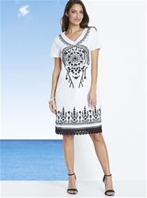 Santorini Embroidered Dress