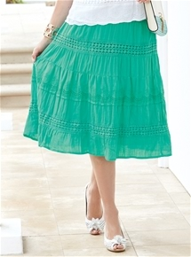 Lace Trim Crinkle Skirt