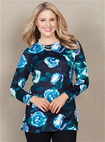 Longline Soft Touch Print Top