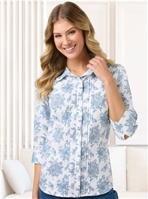 3/4 Sleeve Pintuck Blouse
