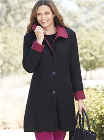 Contrast Winter Wool Coat