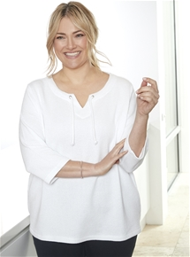 Textured Eyelet Top [PLUS SIZE]