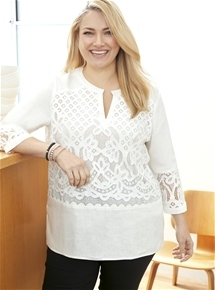 Lace Detail Linen Tunic [PLUS SIZE]