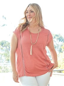 Lace Trim Linen Tee [PLUS SIZE]