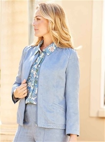 Embroidered Suedette Jacket