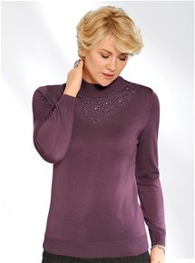 Embellished Flower Mock Turtleneck
