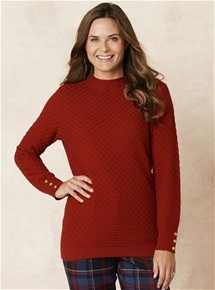 Pointelle High Neck Sweater