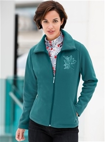 Floral Motif Fleece Jacket