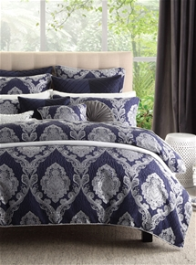 Marcella Navy Quilt Cover Set