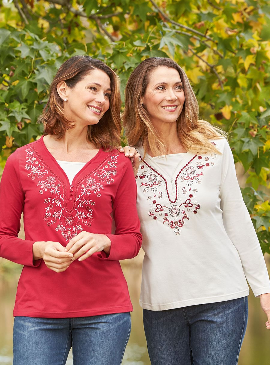 2 Pack Embroidered Tees Berry 12