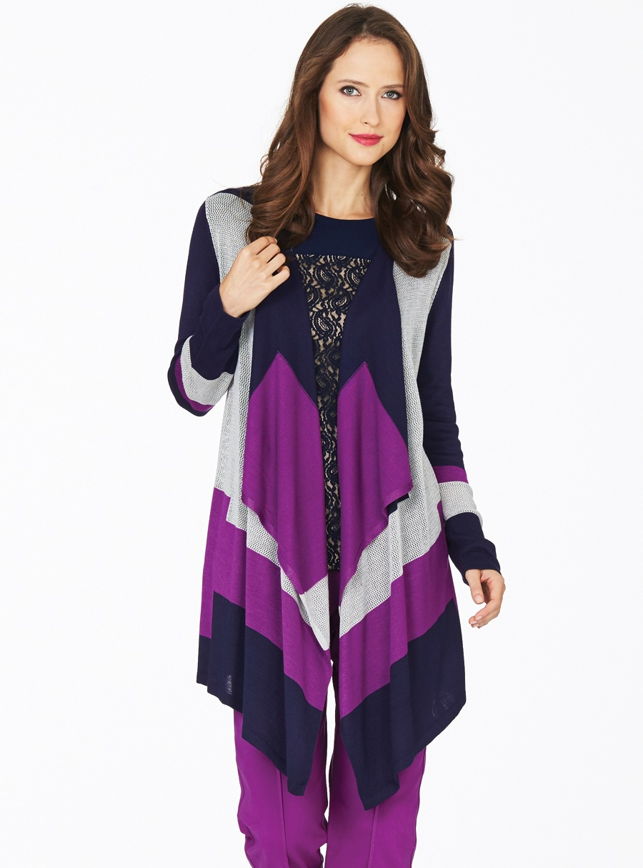 Midnight Iris Waterfall Cardigan Navy Multi 12