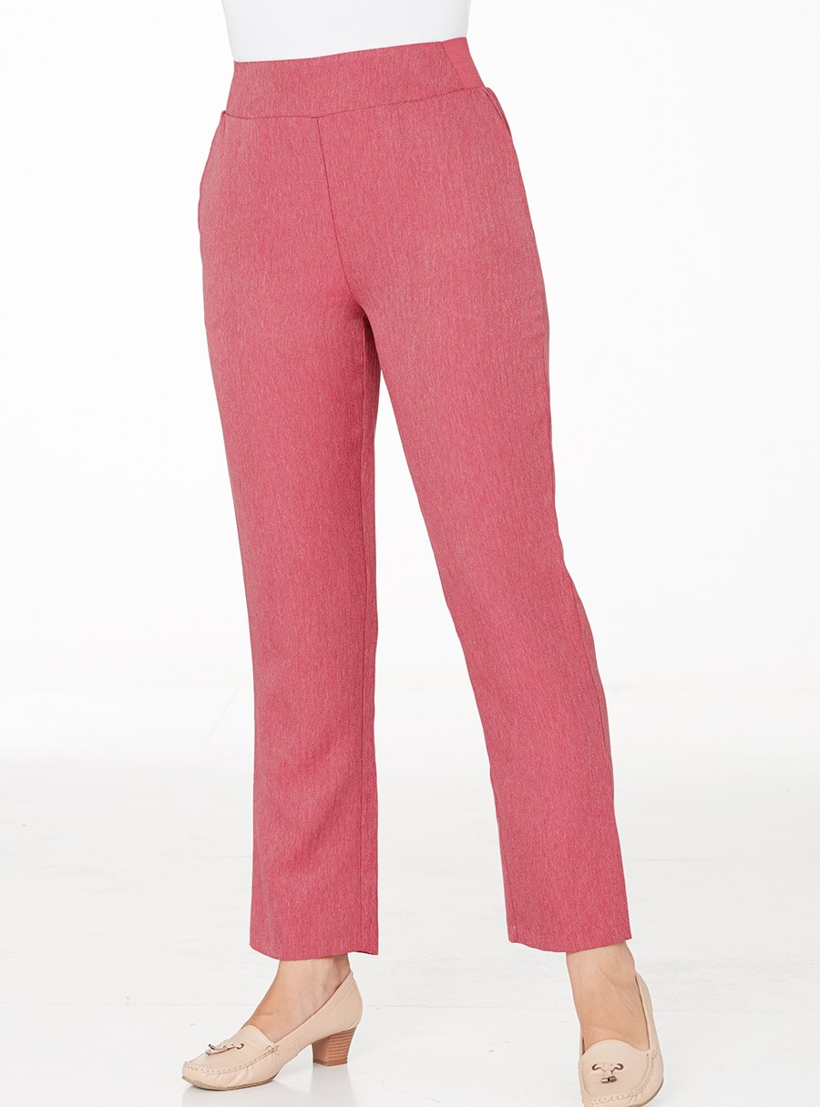 Easy Fit Herringbone Trousers Rose 12