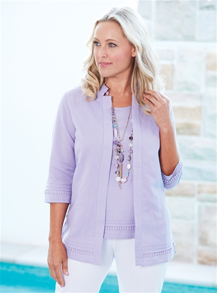 Pleated Lace Trim Jacket
